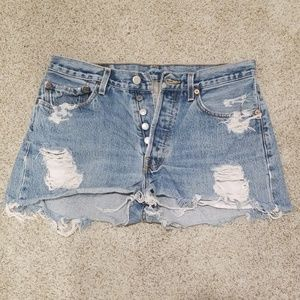 Levi's High Waisted Button Front Cut Off Shorts 32